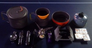 The Kitchen: 900 pot, 450 mug, 300 bowl.  Stainless utensils, canister stove, Esbit stove.